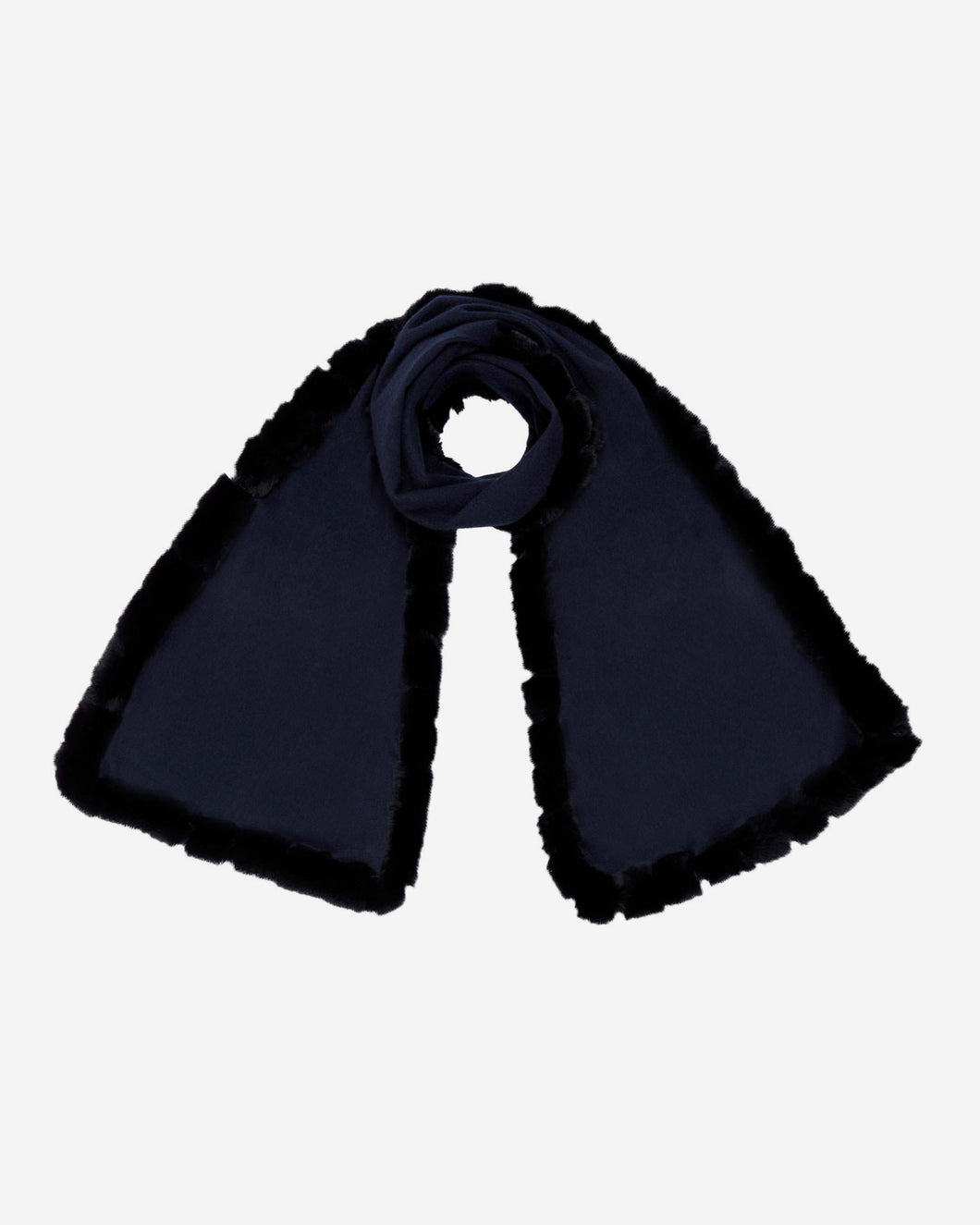 Cashmere Scarf With Fur Trim Navy Blue + Navy Blue