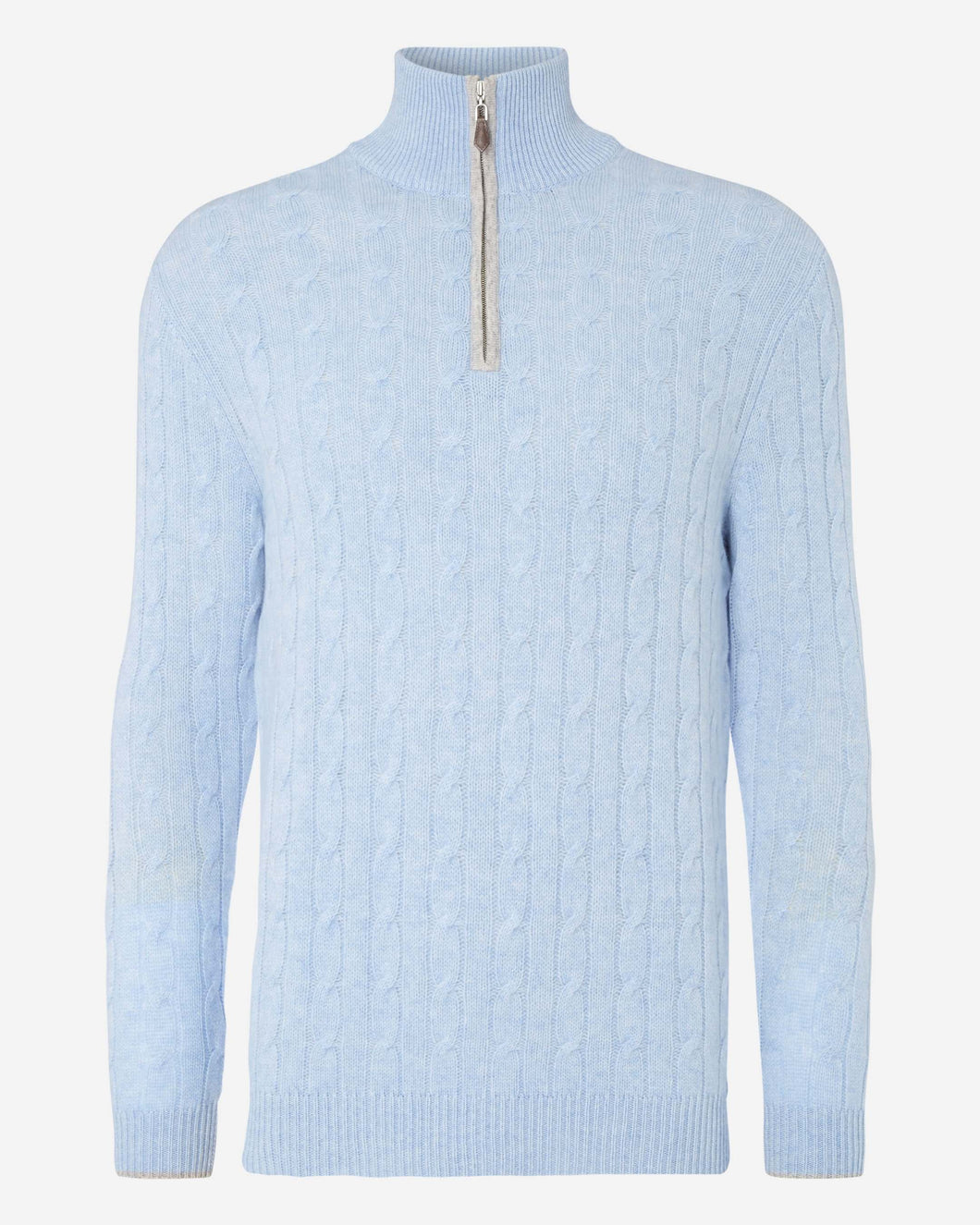 Cable Half Zip Cashmere Jumper Cornflower Blue + Fumo Grey