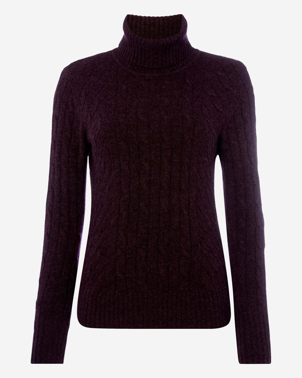Cable Roll Neck Cashmere Sweater Midnight Purple