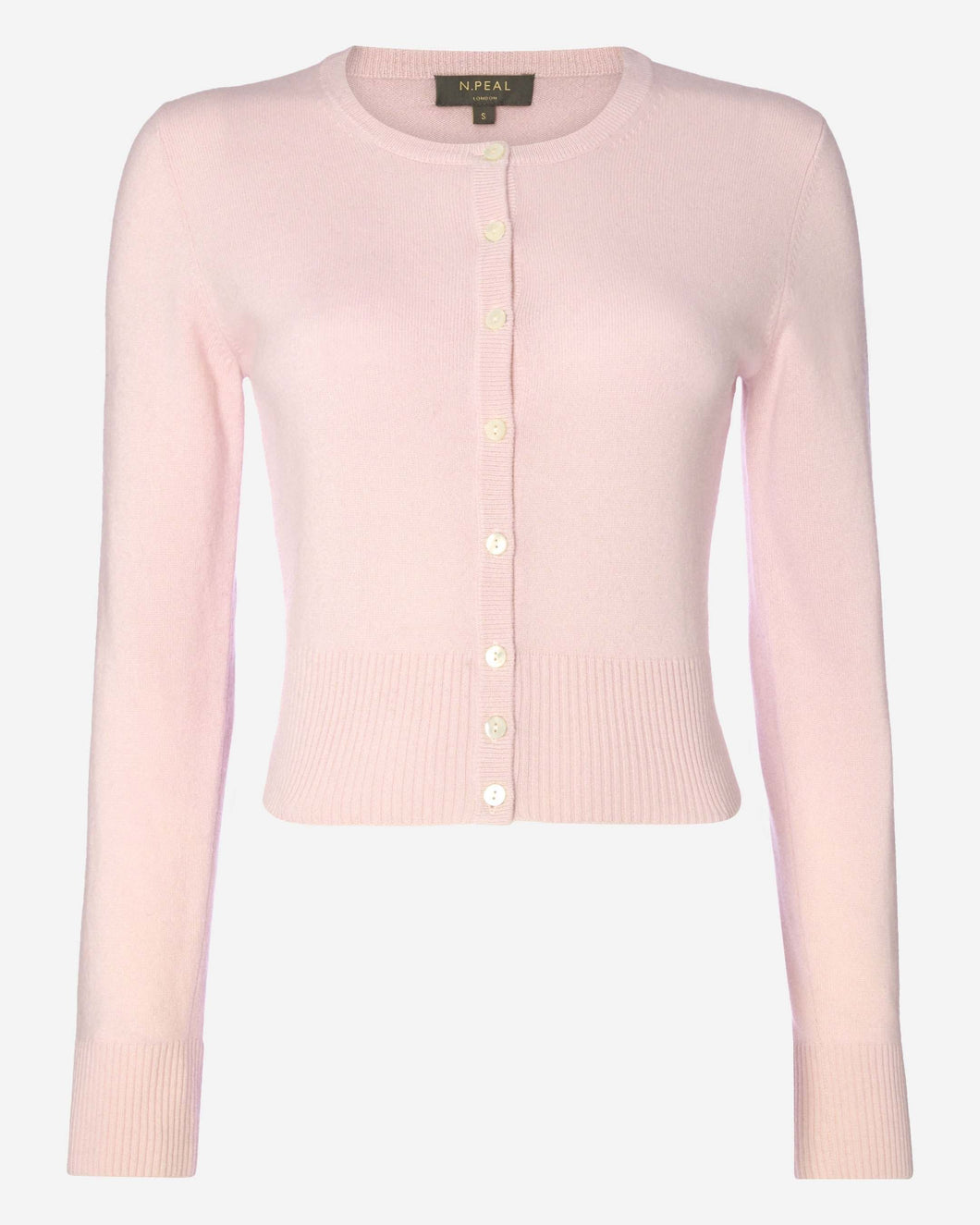 Long Sleeve Cropped Cashmere Cardigan Pale Pink