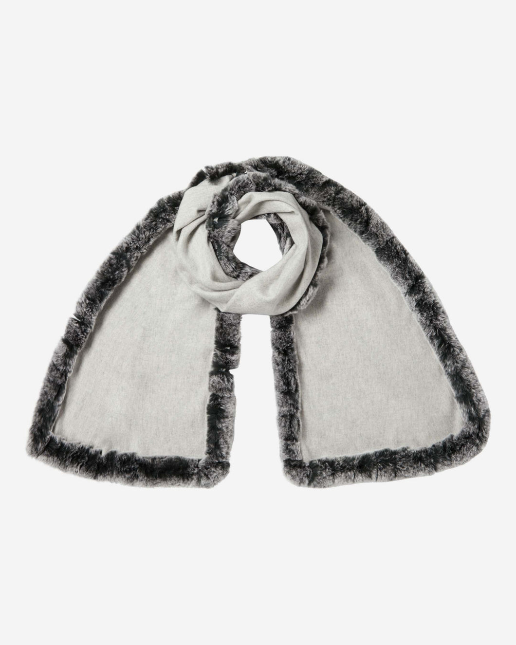 Cashmere Scarf With Fur Trim Fumo Grey + Charcoal Grey Tipped Fur