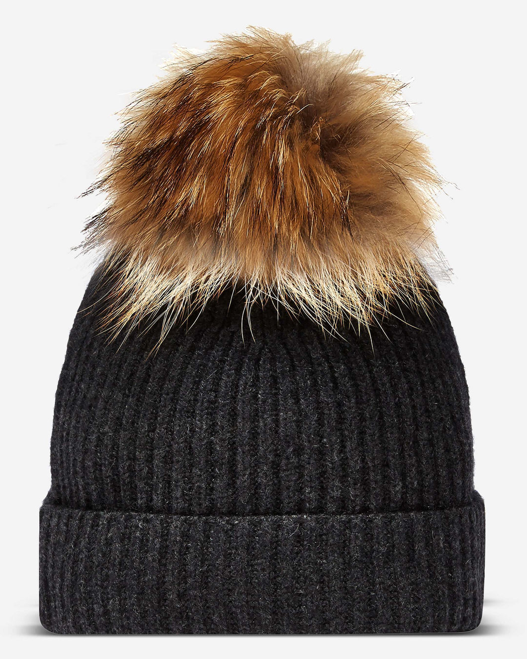 Ribbed Cashmere Hat With Detachable Pom Dark Charcoal Grey
