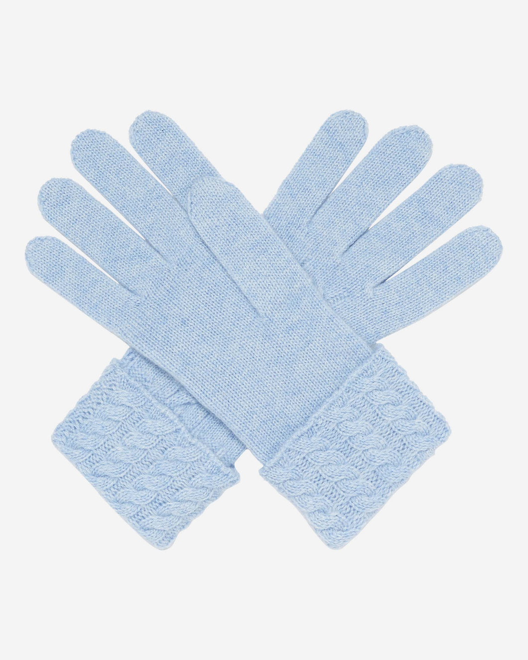 Cable Cashmere Gloves Cornflower Blue