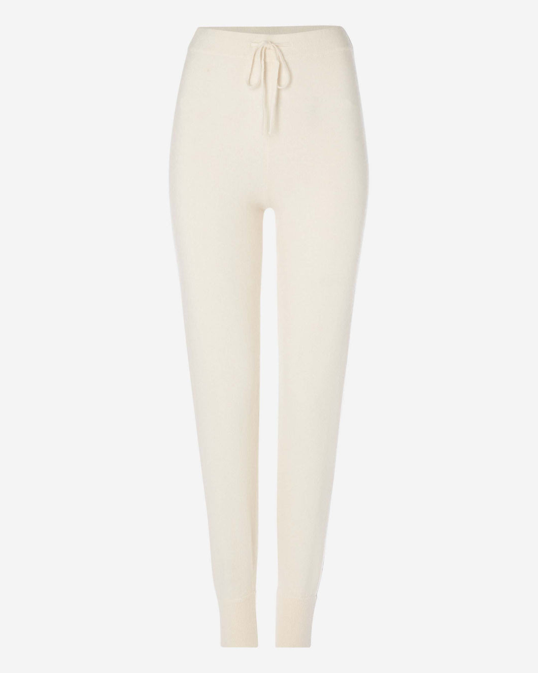 Lurex Stripe Cashmere Jogging Pant New Ivory White + Beige Brown