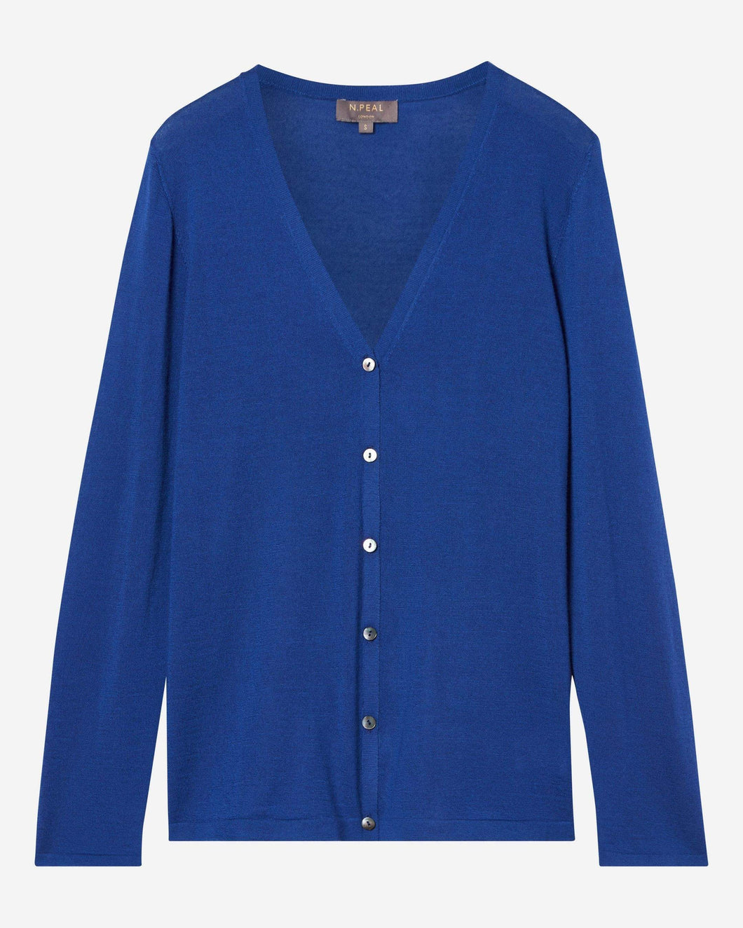 Superfine V Neck Cashmere Cardigan Midnight Blue