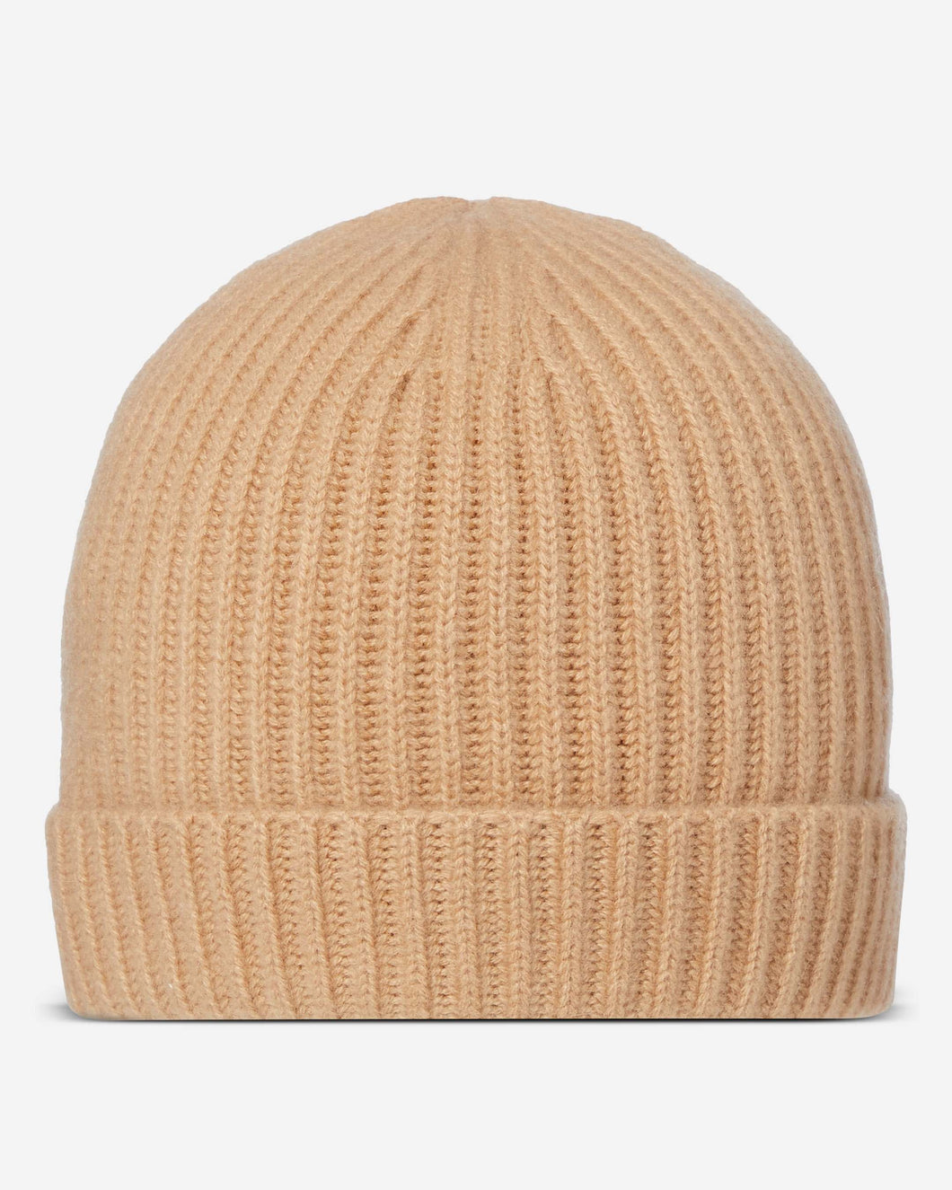 Ribbed Cashmere Hat Camel Brown