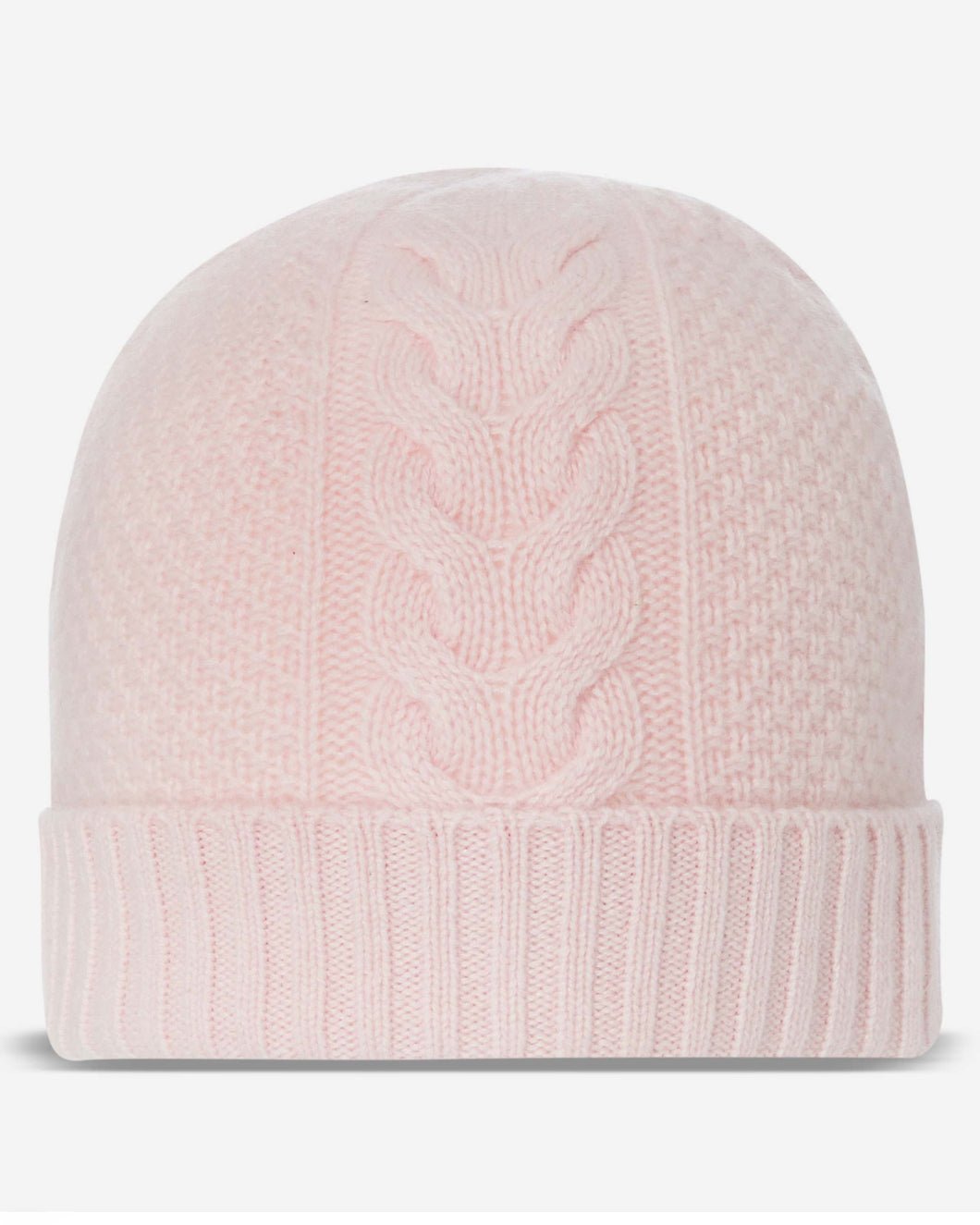 Cable Cashmere Hat Pale Pink