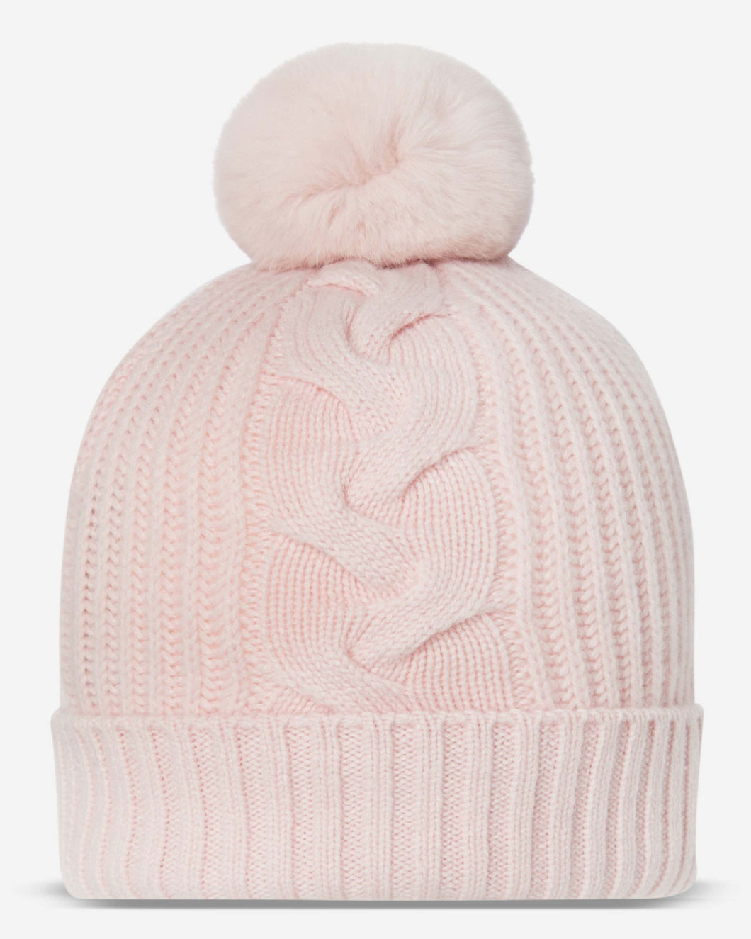Fur Bobble Cable Hat Pale Pink