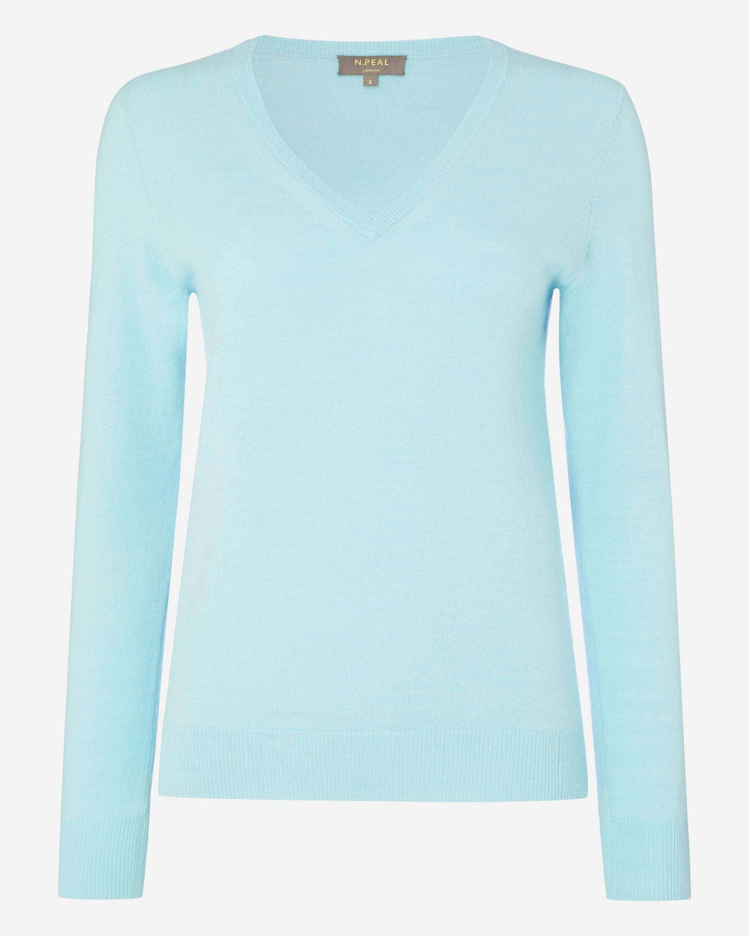 V Neck Cashmere Sweater Seafoam Blue