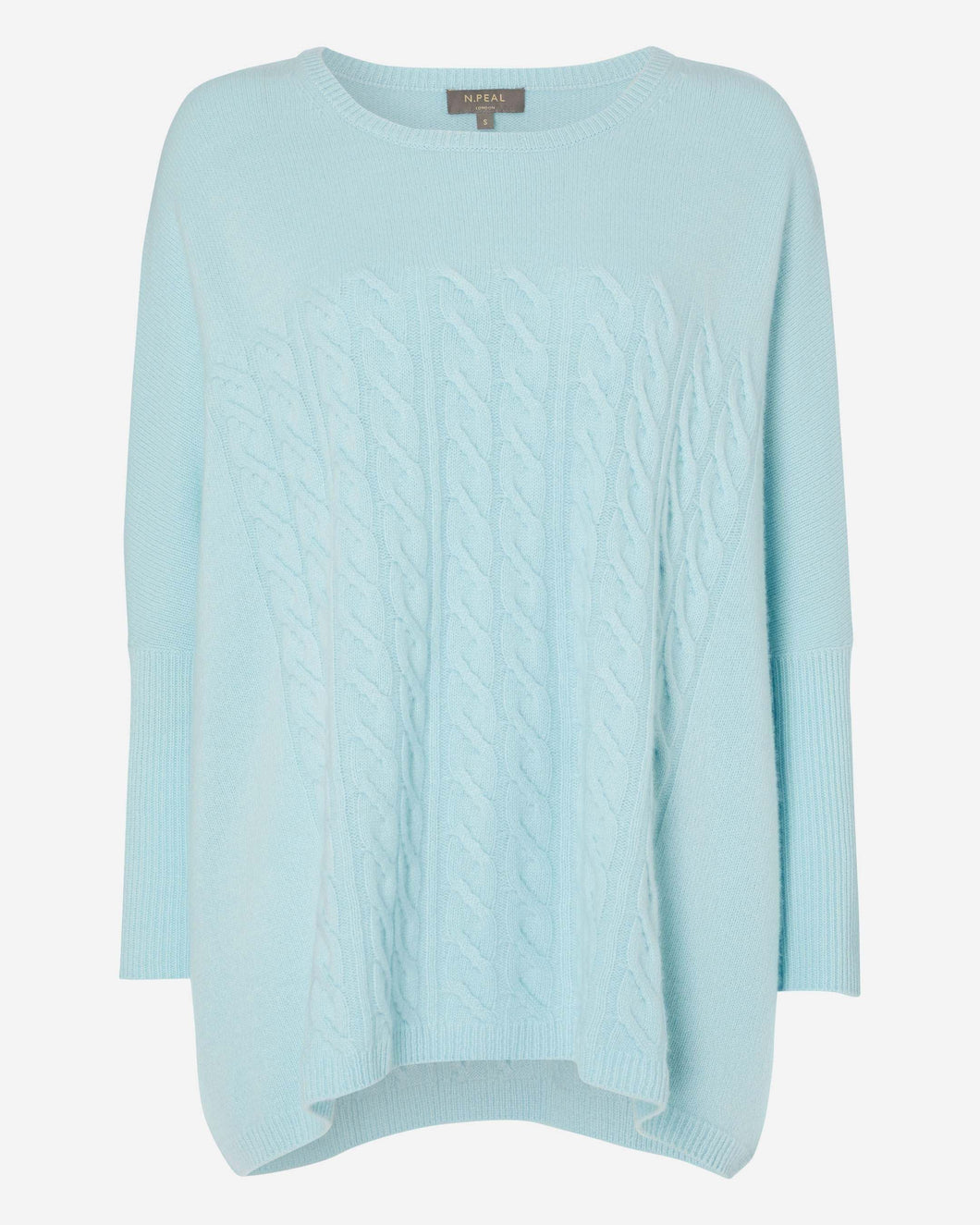 Oversized Cable Cashmere Sweater Seafoam Blue