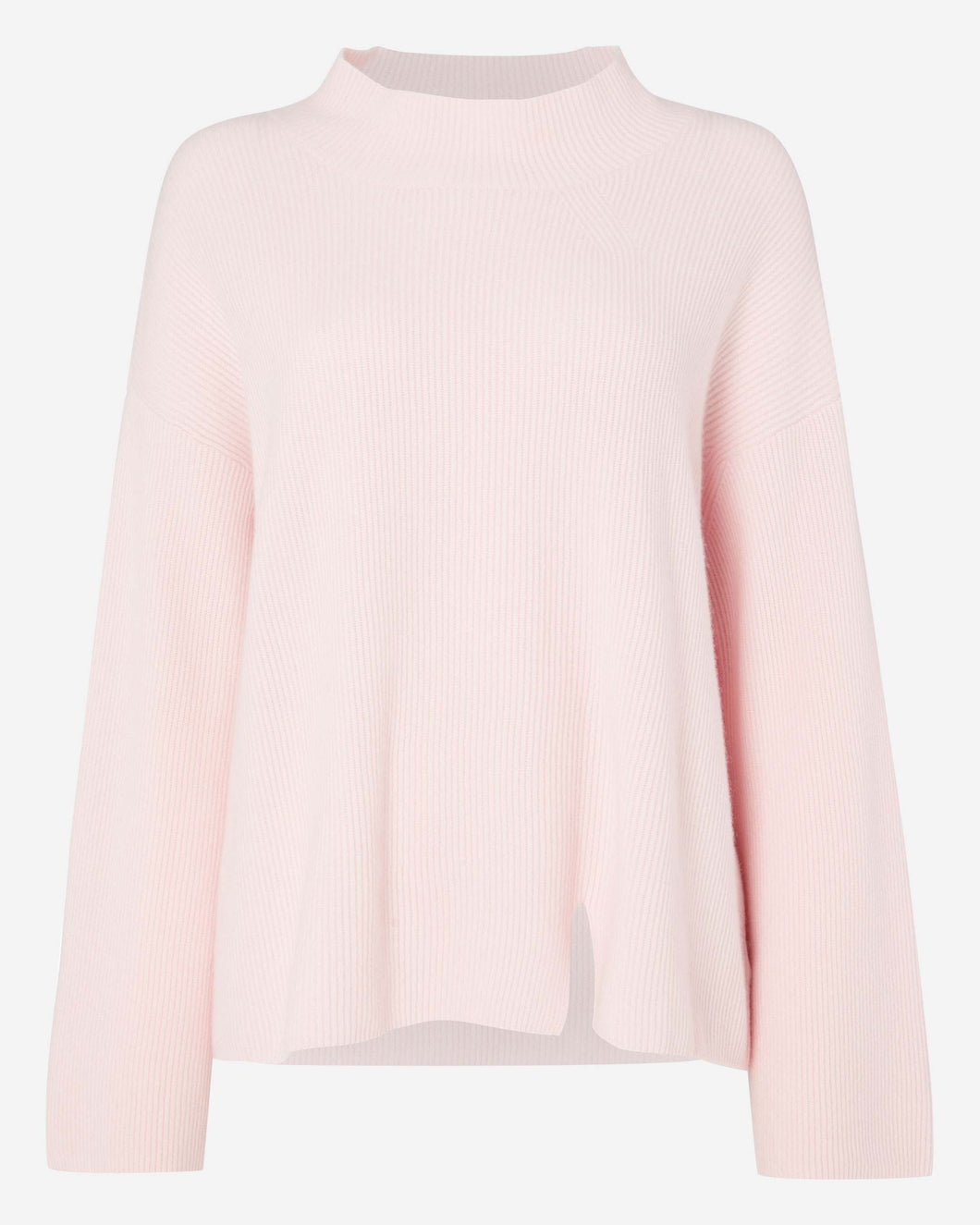 Cardigan Stitch Funnel Neck Cashmere Sweater Pale Pink