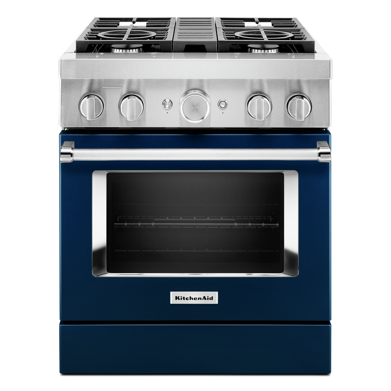 KitchenAid® 30'' Smart Commercial-Style Dual Fuel Range with 4 Burners KFDC500JAV