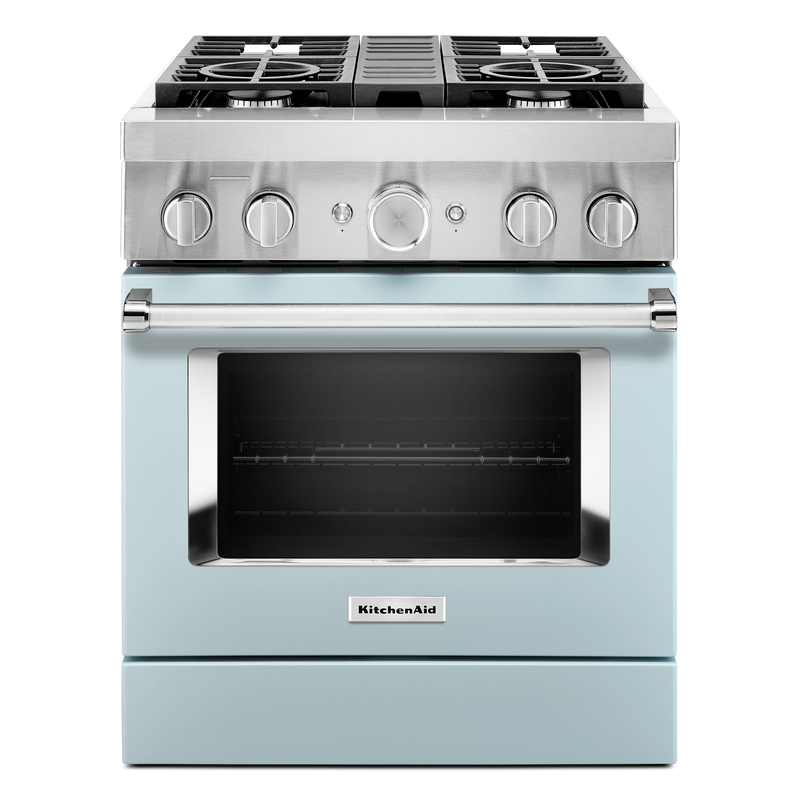 KitchenAid® 30'' Smart Commercial-Style Dual Fuel Range with 4 Burners KFDC500JSS