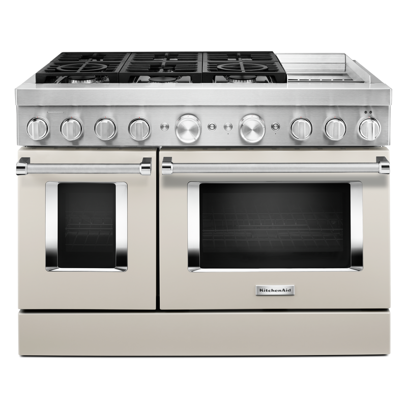 KitchenAid® 48'' Smart Commercial-Style Dual Fuel Range with Griddle KFDC558JBK