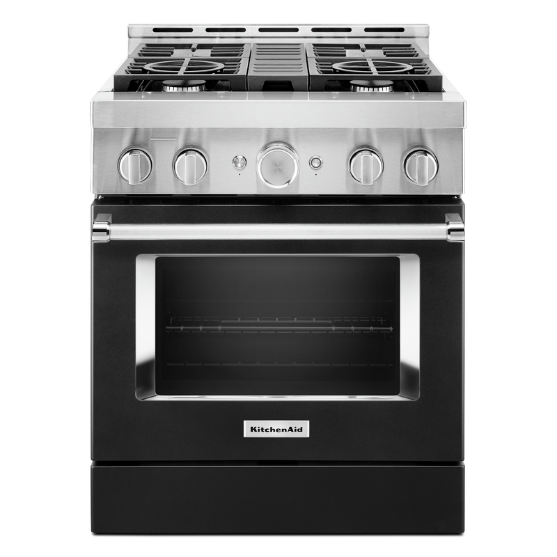 KitchenAid® 30'' Smart Commercial-Style Gas Range with 4 Burners KFGC500JSS