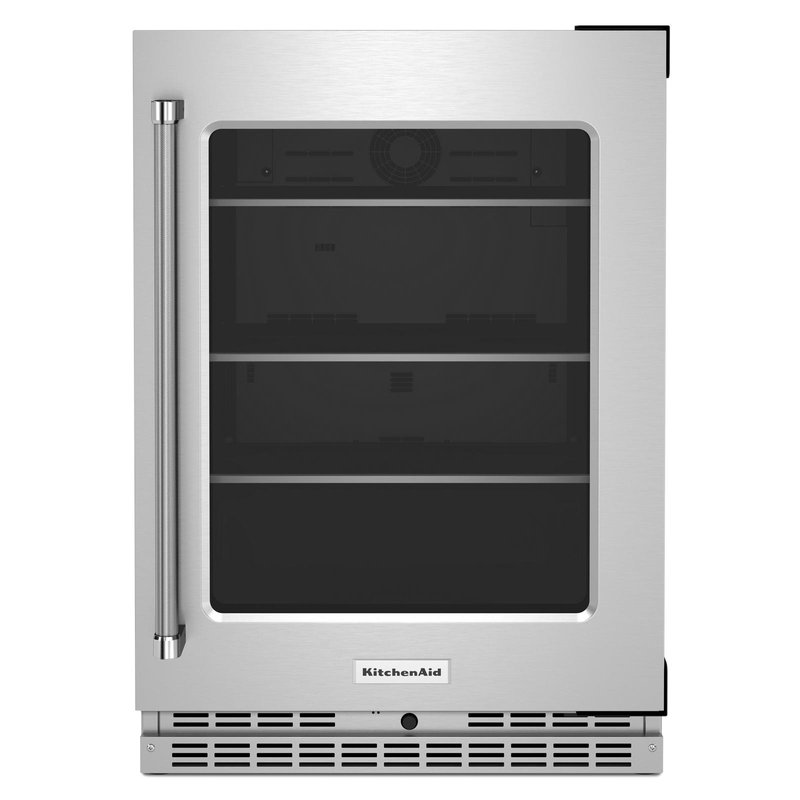 "24"" Undercounter Refrigerator with Glass Door and Shelves with Metallic Accents KURR314KSS"