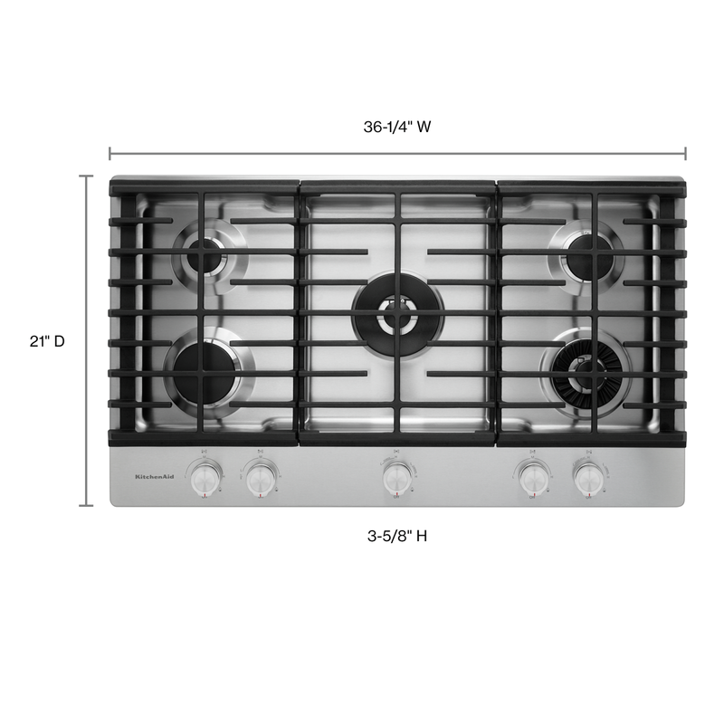 "36"" 5-Burner Gas Cooktop with Griddle KCGS956ESS"
