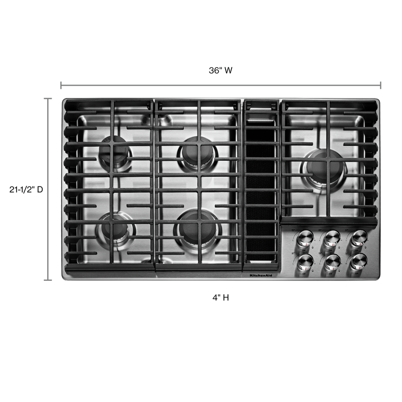 "36"" 5 Burner Gas Downdraft Cooktop KCGD506GSS"