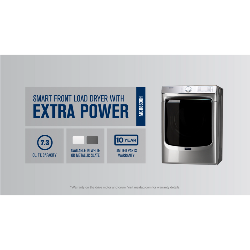 Smart Front Load Gas Dryer with Extra Power and Advanced Moisture Sensing with industry-exclusive extra moisture sensor - 7.3 cu. ft. MGD8630HC