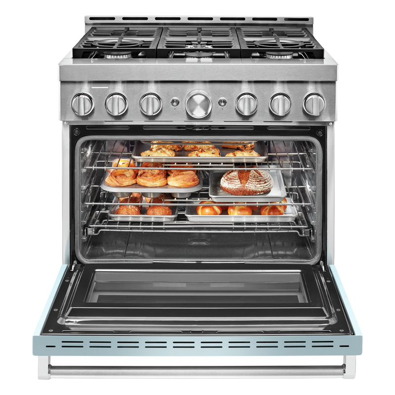 KitchenAid® 36'' Smart Commercial-Style Gas Range with 6 Burners KFGC506JMB