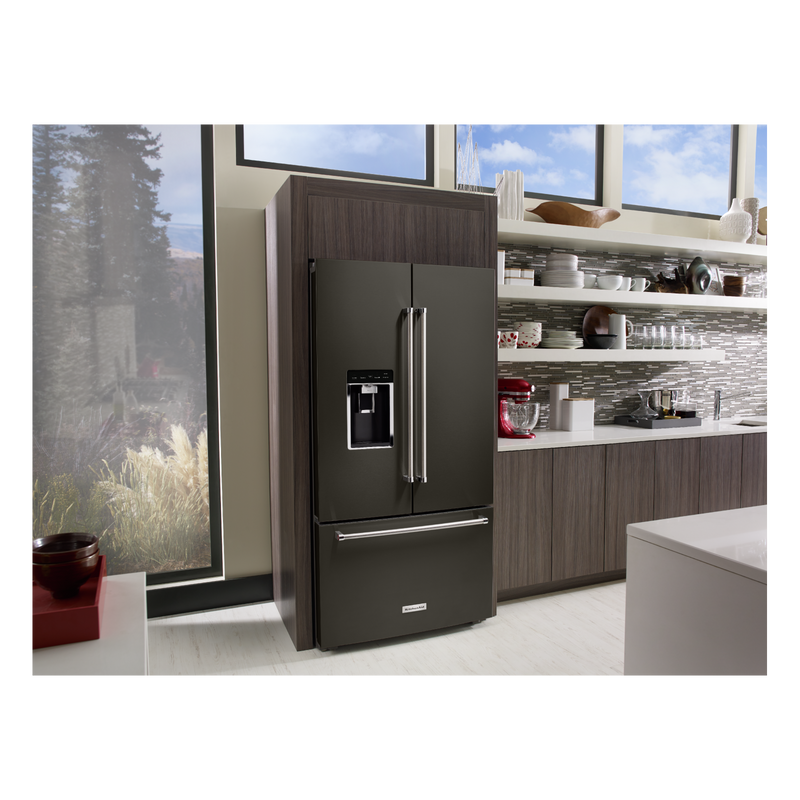 "23.8 cu. ft. 36"" Counter-Depth French Door Platinum Interior Refrigerator with PrintShield™ Finish KRFC704FBS"