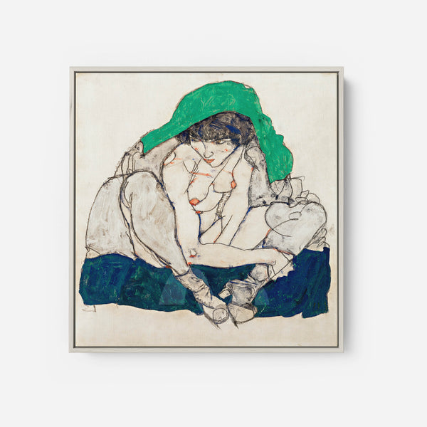Crouching Woman with Green Headscarf by Egon Schiele