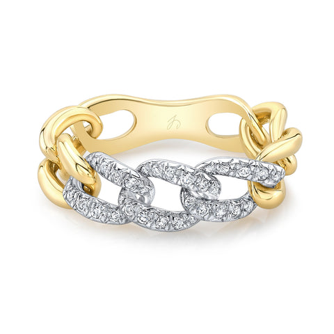 Triple Station Pave Link Ring