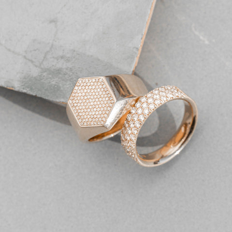 two rose gold and diamond rings