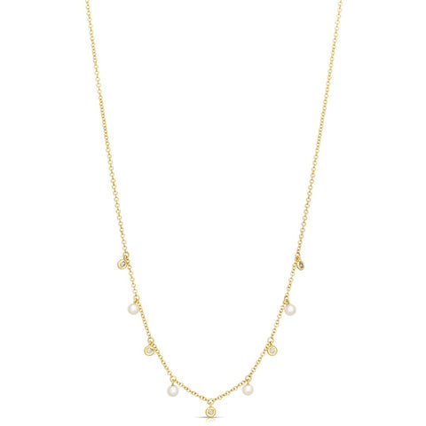 diamond and pearl fringe necklace
