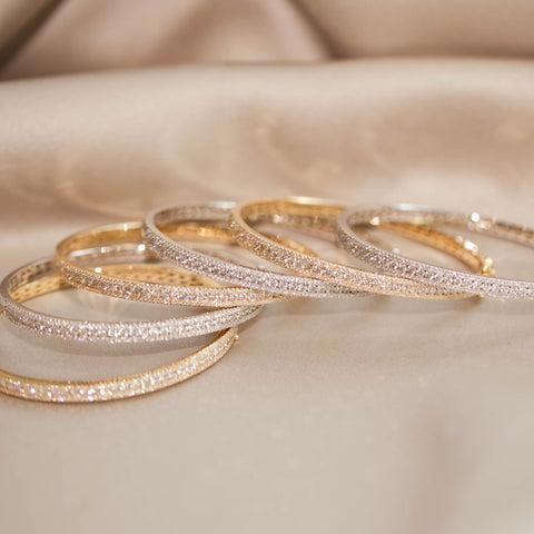 assorted gold and diamond bangles