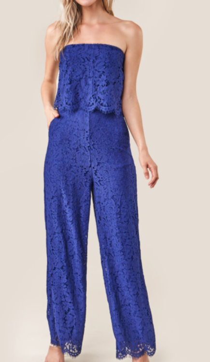 Blue Lace Jumpsuite