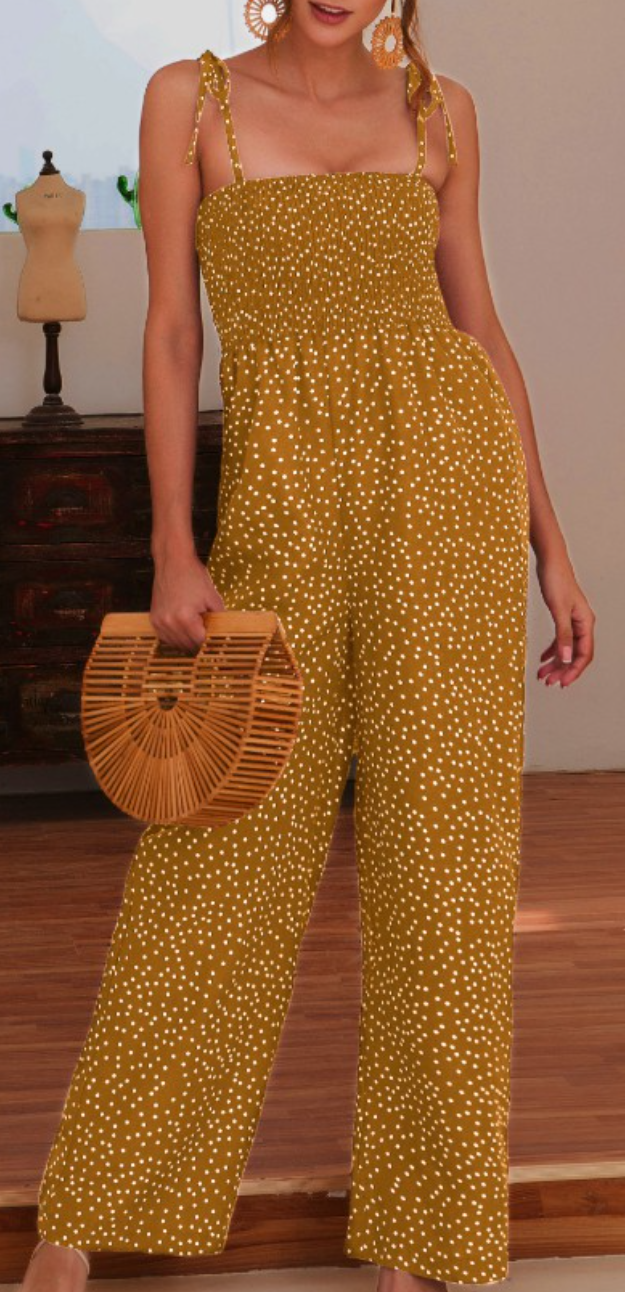 Beach Day Polka Dot Jumpsuit- Yellow