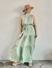 Load image into Gallery viewer, Halter Green Maxi Dress