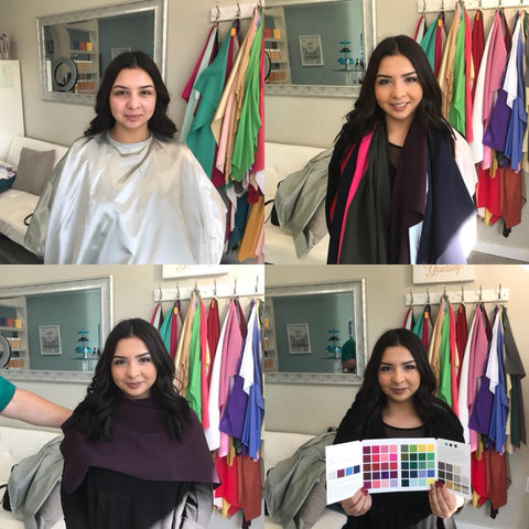 Woman getting a color analysis