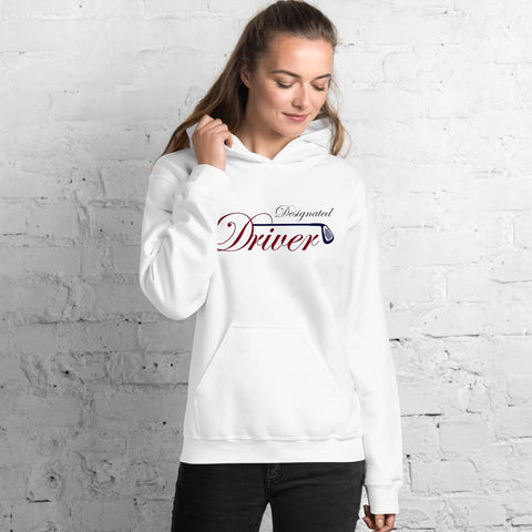 Designated Driver Women's Premium Hoodie in white at Hole in One Productions