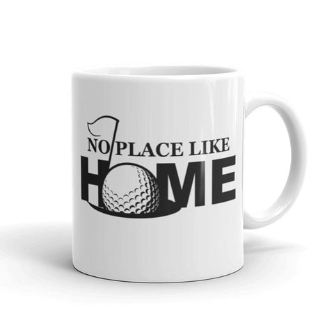 A coffee mug created by Hole in One Productions with a golf design printed on it.