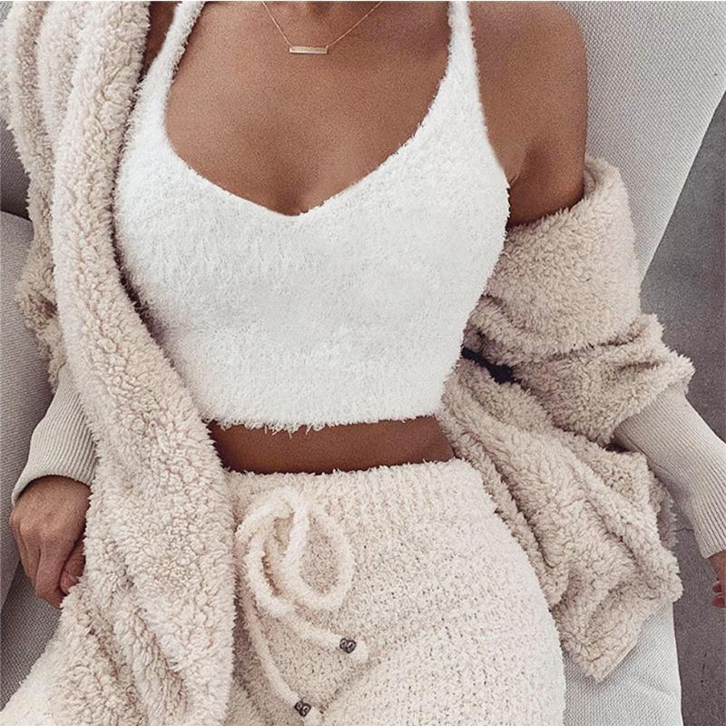 Fluffy Hooded Open Front Teddy Coat & Short Sets