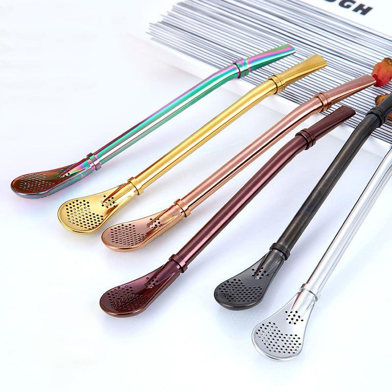 Coffee Spoon Stainless Steel Drinking Straw
