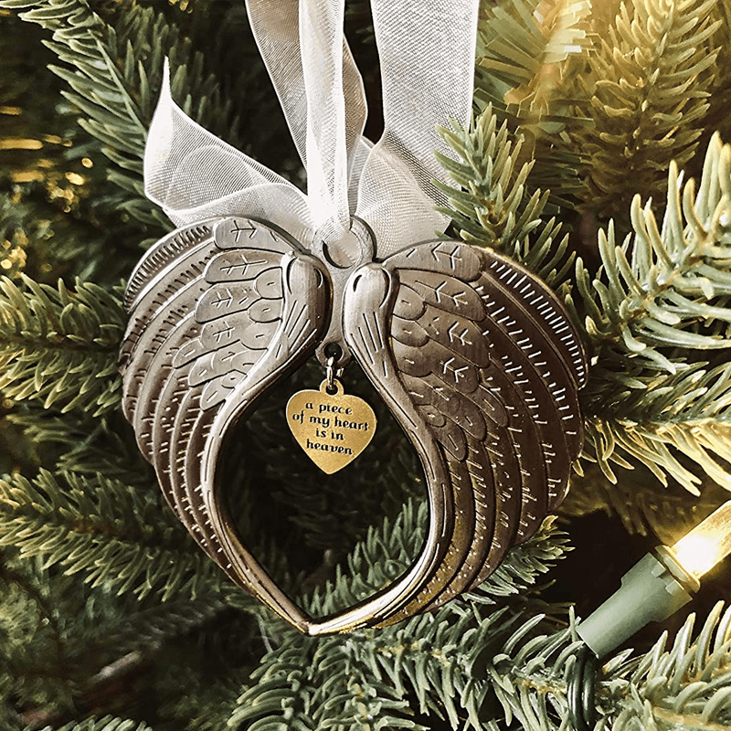 Silver Heart-Warming Memorial Angel Ornament, Wing and Bell.