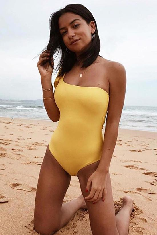 New Charming Tied One Shoulder One Piece Swimsuit in Yellow.AQ