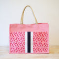 Canvas Square Geometric Beach Bag