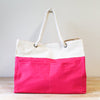 Canvas Hot Pink Beach Bag