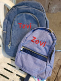 Navy Chambray Small Backpack