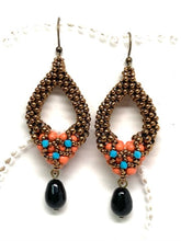 Load image into Gallery viewer, Tori Earring with Drop | Petite | Coral, Turquoise & Jet