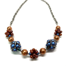 Load image into Gallery viewer, Beaded Bead Necklace | Blue, Silver & Brass