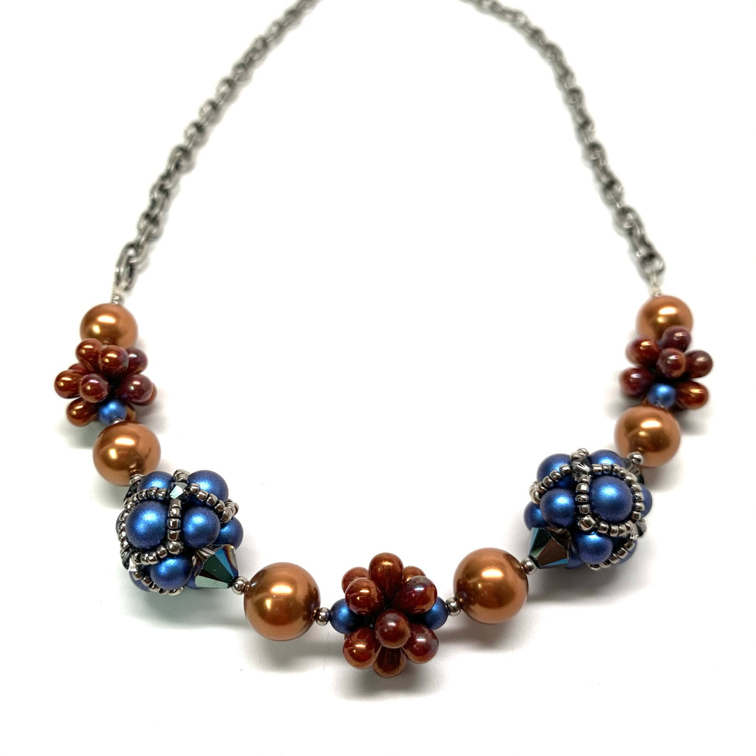 Beaded Bead Necklace | Blue, Silver & Brass