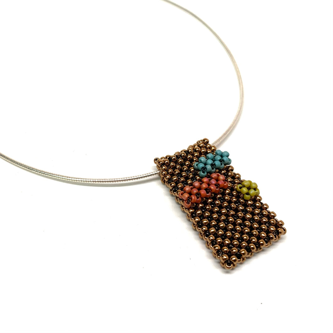 Abstract Handwoven Pendant - Antique Gold with Orange, Turquoise & Green