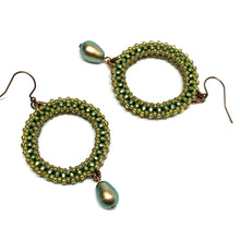 Load image into Gallery viewer, Beaded Hoops with Swarovski Drops | Green