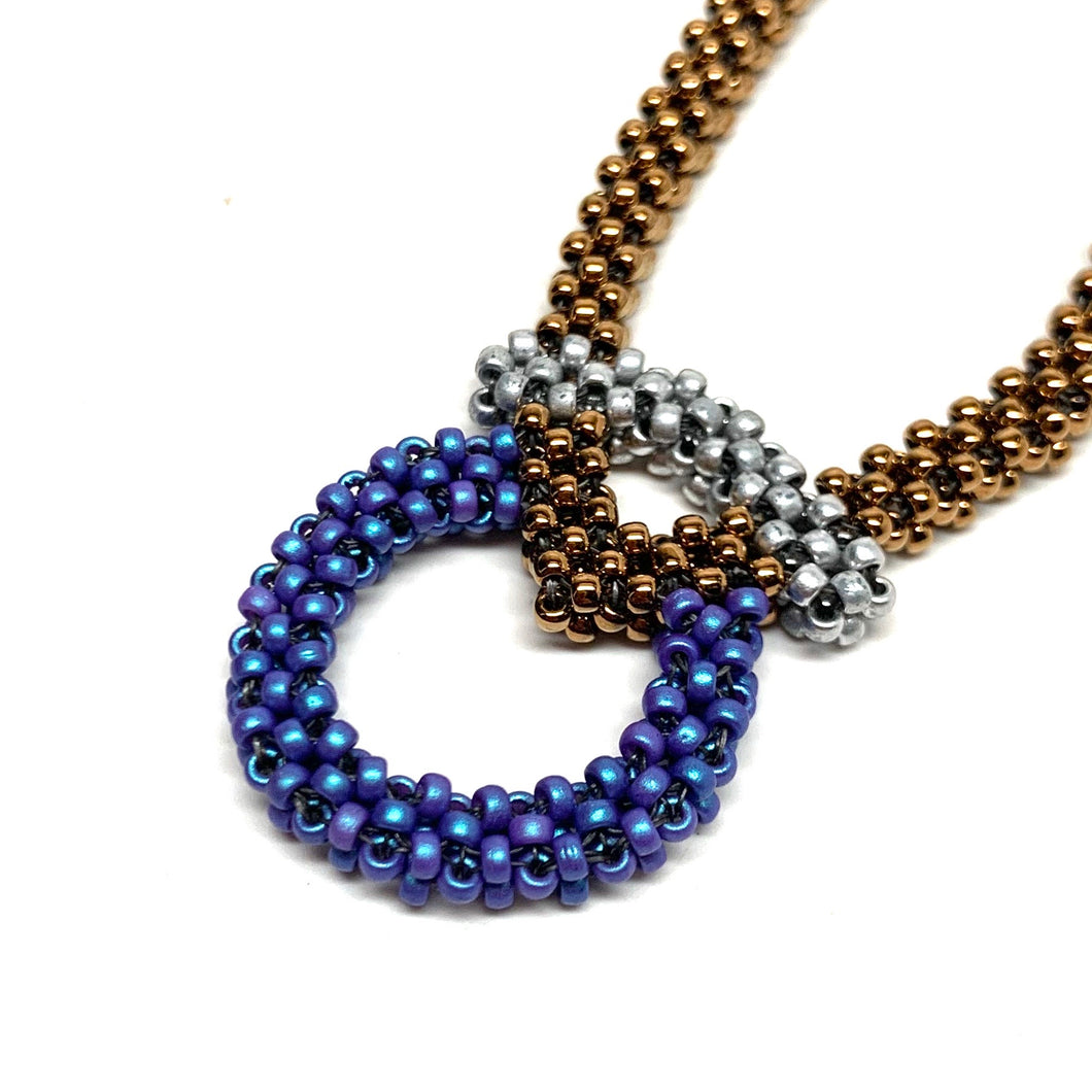 Broken Circle Necklace | Electric Blue, Matte Silver & Dark Gold