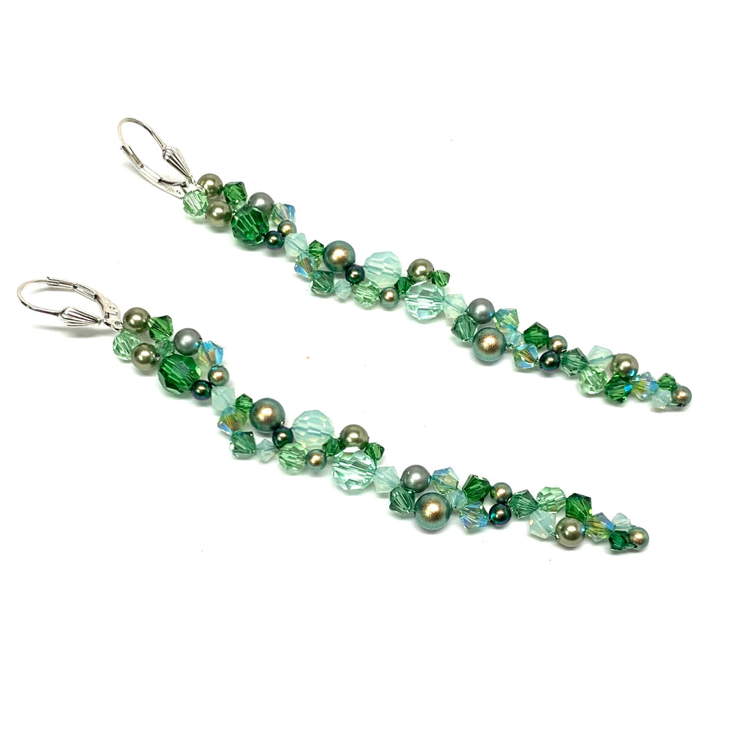Long Swarovski Chain Earring | Shades of Green
